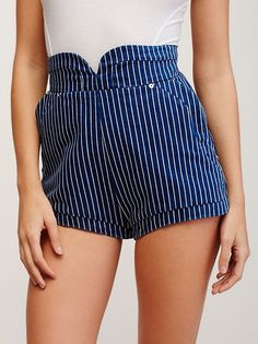 August Days Shorts | Retro-inspired high waisted denim shorts featuring a pinstripe design with hip pockets and a flat back. Hidden back zip. Lined.