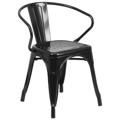 Flash Furniture Vintage Style Industrial Stackable Metal Armchair (Black),  Patio Furniture