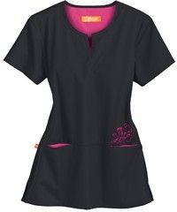 Style # OG3102: CHARCOAL W/ FIERCE FUCSHIA: Orange Standard Scrubs Redondo Top