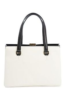 Audrey Satchel in Antique White and Black