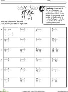 Worksheets: Subtracting Fractions