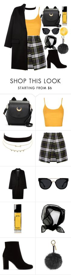 """"""""""" by burcaak ❤ liked on Polyvore featuring Topshop, Charlotte Russe, McQ by Alexander McQueen, Givenchy, Quay, Chanel, Yves Saint Laurent, Fendi and yellow"""