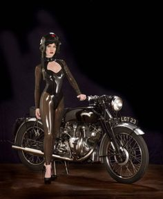libidex (Libidex): What an amazing image from our Keyhole catsuit with long sleeves  http://libidex.com/keyhole-catsuit.html  Photographer : Nic marchant Model Jemma Rose Studio : Blackbarn studio Motorbike : Vincent V twin 1949