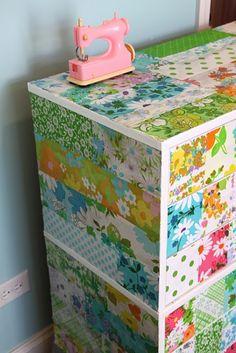 Dresser covered in vintage sheets!