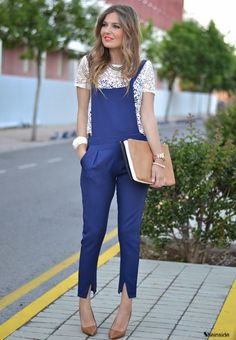 BLUE JUMPSUIT - Womens Fashion Clothing at Sheinside.com