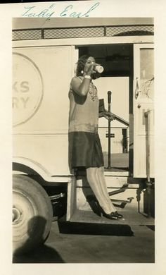 Love this outfit. Simple, sharp & classic. The milk truck, 1920s-