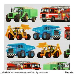 Colorful Kids Construction Truck Pattern Fabric from #TruckStore