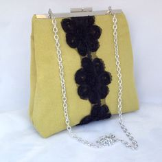 YELLOW/GREEN BAG with black lace flowers, purse, clutch with chain by ClutchChemistry on Etsy https://www.etsy.com/listing/210963273/yellowgreen-bag-with-black-lace-flowers