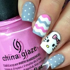 This mani is soooo adorable! Check out @sensationails4u's feed on IG for a quick tutorial on creating Hello Kitty's face! - Wavy Nail Vinyls snailvinyls.com