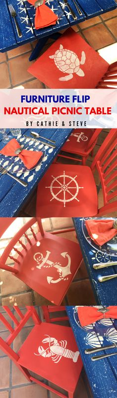 Cathie and Steve flip a picnic table into a awesome Nautical Picnic Dining Table using new FolkArt Coastal paint, Outdoor paints, and stencils. This Nautical Dining Table Set DIY would add style to any outdoor space!