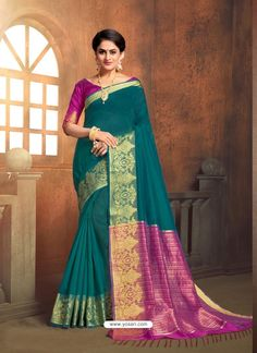 Teal Cotton Silk Saree With Blouse 134986 Cotton Blouses, Cotton Saree, Cotton Silk, Indian Beauty Saree, Indian Sarees, Silk Sarees, Nauvari Saree, Party Wear Sarees, Indian Ethnic Wear