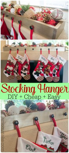 Simple step-by-step directions on how to make a DIY stocking hanger! An easy box design that can be customized each year and knobs to hang stockings. Plus, it's a cheap Christmas decoration that looks  expensive!