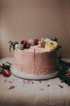 Strawberry Vanilla Bean Coconut Cake with Cream Cheese Buttercream