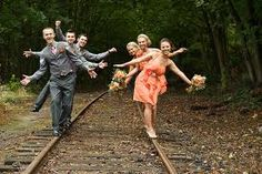 Pictures on the railroad track with the wedding party its cute and perfect for us