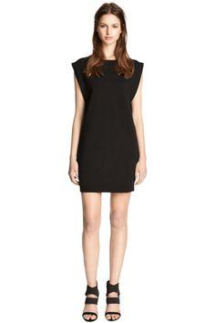 Dresses | Black Compact yarn V back dress | Warehouse
