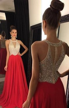 2016 Red Chiffon Prom Dresses Halter V Neck Sleeveless Beading Long A-line Evening Gowns: