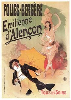 FoliesBergere Vintage French Poster 95 x 135 by JohnKlineArtwork, $10.00