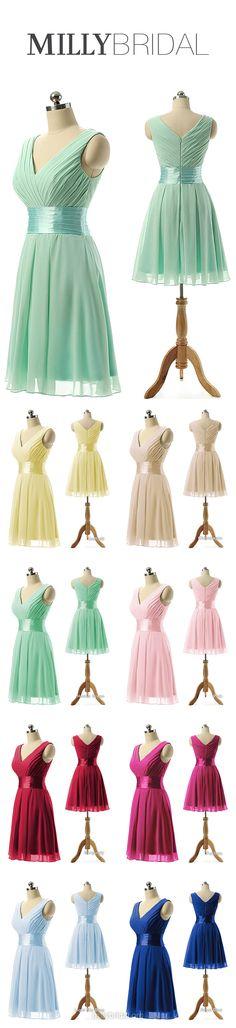 Green Bridesmaid Dresses Short, Vintage Bridesmaid Dresses V-neck 2018, Cheap Bridesmaid Dresses Chiffon, Knee-length Bridesmaid Dresses Modest Sashes / Ribbons