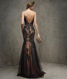 FAUSTA - Vestido de festa em renda, preto