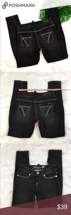 Seven7 Black Legging Jeans Seven7 black legging jeans. Size 28 with 7' rise and 29' inseam. Pre-Owned condition with no major flaws. There is only one small rhinestone missing on back as pictured. ❌I do not Trade 🙅🏻 Or model💲 Posh Transactions ONLY Seven7 Jeans Skinny