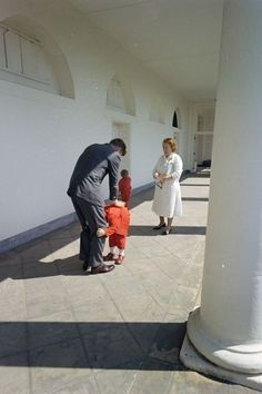 President Kennedy with his children, White House