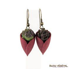 Boucles d'oreille tulipe chocolat avec plantes - bijou créateur, bijoux fait main, bijoux créateur, bijou fait main, bijou femme, bijoux femme, bijou vegetal, bijou végétal, bijoux végétaux, bijoux vegetaux
