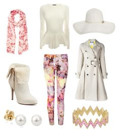 """""""White meets Floral"""" by passion-for-pink ❤ liked on Polyvore featuring Jennifer Meyer Jewelry, Ted Baker, Alexander McQueen, Jennifer Lopez, Melissa Odabash, Witchery and Moschino"""