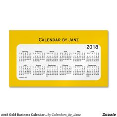 2018 Gold Business Calendar by Janz Magnet Magnetic Business Card