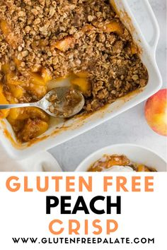 Make this delicious gluten free peach crisp with either fresh or frozen peaches. Gluten Free Dinner, Gluten Free Desserts, Gf Recipes, Gluten Free Recipes, Gluten Free Peach Crisp, Peaches, Deserts, Frozen, Fresh
