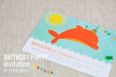 digital products - printable Birthday party invitation by PinkNounou