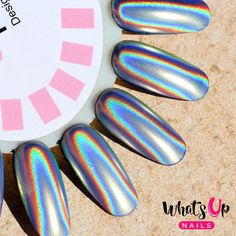 Ultra fine holographic powder that will make your nails shine like rainbow unicorn! This mica powder has the highest quality on the market. It comes in one color only but you can achieve different loo Glitter Dust, Glitter Nails, Chrom Nails, Holographic Nail Powder, Chrome Powder, New Nail Polish, Nail Polishes, Nails Only, Unicorn Nails