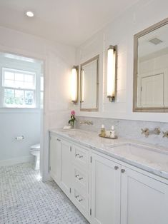 wall mount faucet on slab backsplash Hampton Design - bathrooms - Restoration Hardware Chandler Sconce, Restoration Hardware Framed Lit Right-Opening Inset Medicine Cabinet, wat. White Bathroom Cabinets, Bathroom Renos, Bathroom Renovations, Bathroom Ideas, Simple Bathroom, Bathroom Designs, White Cabinets, Bathroom Interior, Upstairs Bathrooms