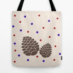 Pine cones and berries Tote Bag by Miracle - $22.00