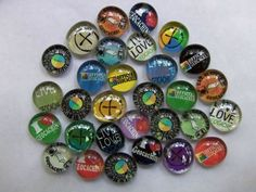 Geocaching Swag - 30 3/4 inch clear stones with mixed images ... $10.50