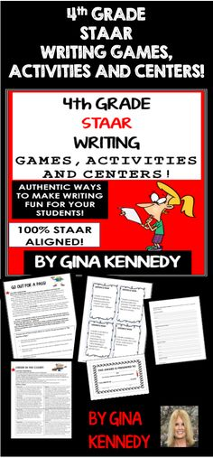 4TH GRADE STAAR WRITING GAMES, ACTIVITIES & MORE! Finally, a fun way to prepare your students for the 4th Grade Writing STAAR Test without endless practice prompts. 100% ALIGNED to the 4th Grade Writing TEKS! From developing a closing argument to writing the perfect introductory paragraph, the activities and games included in this resource will bring new life to your writing instruction! Also excellent for writing camps!$