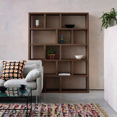 The Hopkins walnut veneer wide bookcase is a substantial contemporary design with feature offset dividers and a pure aesthetic. Buy now at Habitat UK. Dream Furniture, Home Furniture, Furniture Design, Living Room Storage, Living Room Sofa, Living Area, Wood Sofa, Teak Wood, Wide Bookcase