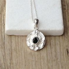 Blue Sapphire Sterling Silver Necklace Delicate by SunSanJewelry