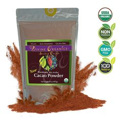 Divine Organics, 16oz Raw Cacao Powder / Cocoa Powder- Certified Organic - Premium Rio Arriba - Smoothies, Hot Chocolate, Baking, Shakes, Add to Coffee - Rich in Magnesium * Check out the image by visiting the link.