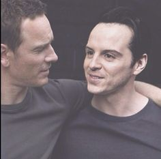 Michael Fassbender & Andrew Scott <<< I need to know everything about this picture now omg I love it it's my new favourite thing. :D