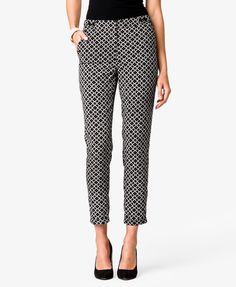 Sleek patterned trousers add interest to your everyday work outfits! Dotted Geo Satin Trousers @ FOREVER21