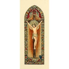 Belcher Mosaic Glass 1886 Christ on Cross window Canvas Art - Fr Verheyden (18 x 24)