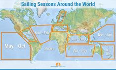 Knowing the sailing seasons around the world help you to plan your trip well. I've made a list of sailing conditions around the world, so you know where to go when. Sailing Basics, Sailing Terms, Sailing Lessons, Ocean Sailing, Sailing Catamaran, Sailing Ships, Sailboat Living, Living On A Boat, Liveaboard Sailboat