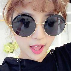 Chic Retro Big Alloy Round Frame Women's Sunglasses