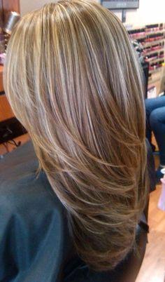 Light blonde highlights on medium brown hair