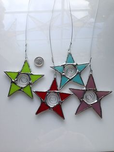 Car Star- 3 inch star with spiral metal center- Perfect for your rear-view mirror  kurtknudsen.etsy.com