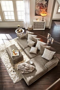√ Great Room Layout with Sectional. Luxury Great Room Layout with Sectional. Right On Beat the Platinum Finished Tempo Sectional Living Living Room Sectional, Home Living Room, Apartment Living, Living Room Designs, Living Room Decor, Cozy Apartment, Deep Couch Sectional, Apartment Ideas, Big Couch