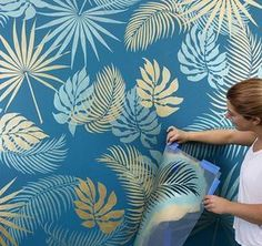 Stencil A tropical wall with cutting edge stencils DIY wall stencil pattern . - Stencil A tropical wall with cutting edge stencils DIY wall stencil pattern # cutting ed - Stencil Decor, Wall Stencil Patterns, Leaf Stencil, Stencil Designs, Paint Designs, Painting Patterns On Walls, Bird Stencil, Wallpaper Accent Wall Bathroom, Wall Wallpaper