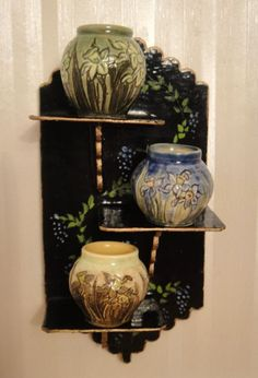 Jane Graber's Arts and Crafts Vases on W & S Golland's Wall Shelf - Signed