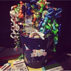 Great birthday ideas for boyfriend! Glue small bottles of alcohol to skewers!