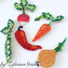 Embroidered brooch vegetable brooch unique bead jewelry vegetable pin vegan jewelry vegan gift embroidered brooch vegetarian jewelry